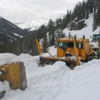 Crews work earlier this spring to plow Sylvan Pass, the highest point along the east entrance road into Yellowstone National Park. (National Park Service photo - click to enlarge)