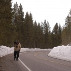 Nature photographer Gene Grove carries his camera and tripod along the road bordering the Yellowstone River.