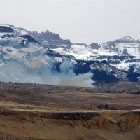A small prescribed fire burns near the base of Carter Mountain south of Cody, Wyo. (Ruffin Prevost/Yellowstone Gate file photo - click to enlarge)