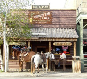 Cowboys still frequent the Cowboy Bar in Meeteetse, Wyo. and sometimes arrive on horseback. (photo courtesy of Jim Blake)