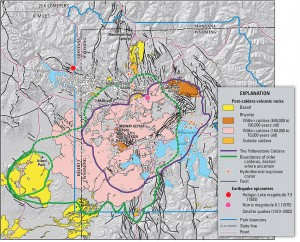 Yellowstone supervolcano eruptions over millions of years have formed giant calderas, including the Island Park Caldera (shown in green) from the Huckleberry Ridge eruptions. (USGS - click to enlarge)
