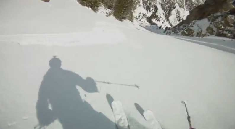 A still frame from a video shot by skier Josh Tatman shows his shadow on the snow just before he is injured in a fall on a steep slope in Grand Teton National Park. (click to enlarge)