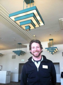 Dylan Hoffman, director of environmental affairs in Yellowstone for Xanterra Parks and Resorts, found LED lights used in a remodel of the Mammoth Hotel dining room that use 90 percent less energy than the lights they replaced. (Ruffin Prevost/Yellowstone Gate - click to enlarge)