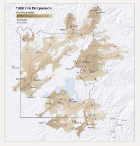 Yellowstone fire progression map