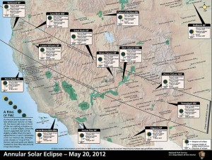An annular solar eclipse on May 20, 2012 will be visible from national parks across the Western United States. (NPS image - click to enlarge)