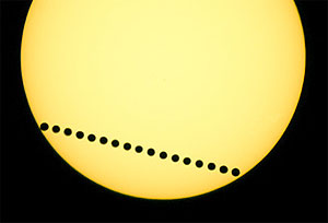 A time-sequenced composite photo shows the transit of Venus in June 2004 (photo by Fred Espenak)