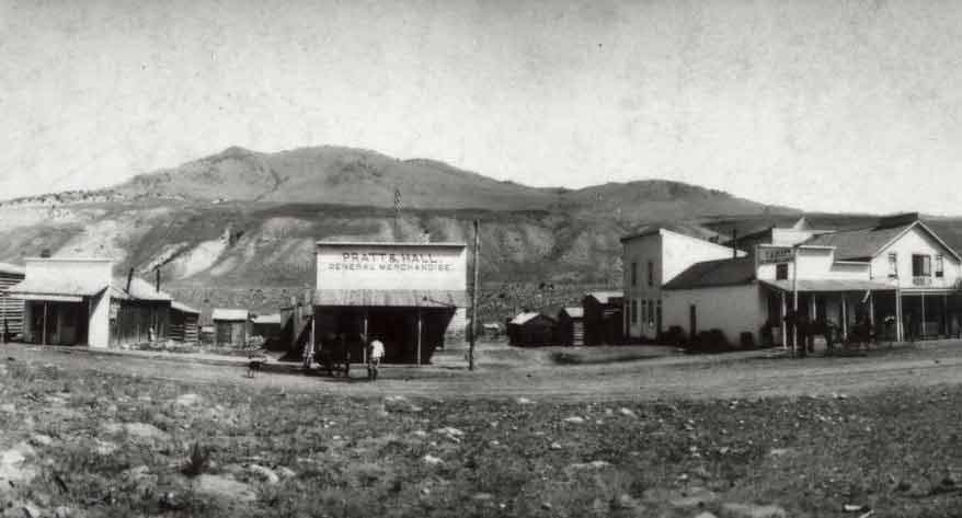 downtown Gardiner Montana in 1890