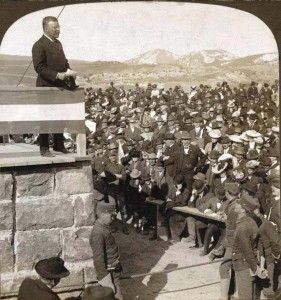 President Theodore Roosevelt attends a 1904 ceremony in Gardiner, Mont. for the laying of the cornerstone in the arch that bears his name.