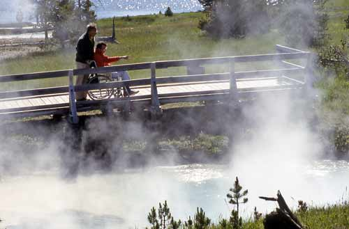 Yellowstone geysers and boardwalks