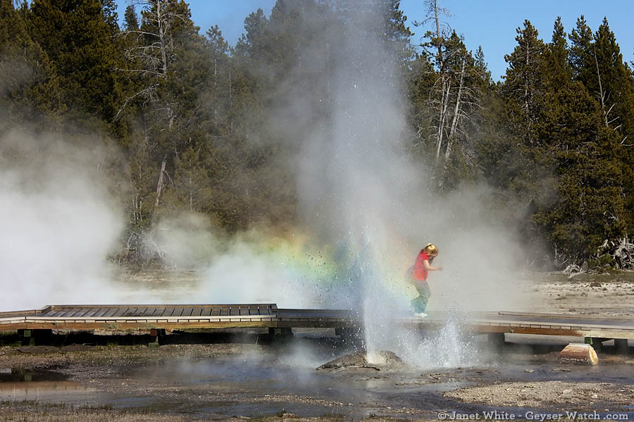 A girl runs through the spray created by Penta Geyser in Yellowstone Park's Upper Geyser Basin. (Janet White/Geyser Watch - click to enlarge)