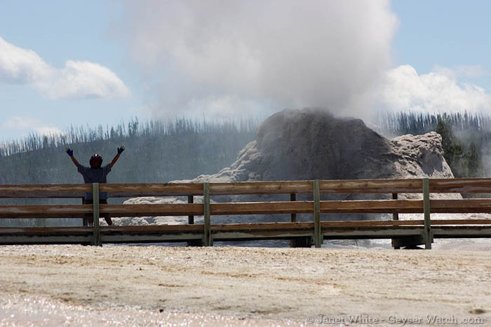boy gets showered by Yellowstone geyser