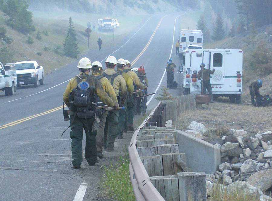Fire crews continue to monitor and work to contain the Index Fire, northeast of Yellowstone National Park. (InciWeb photo - click to enlarge)