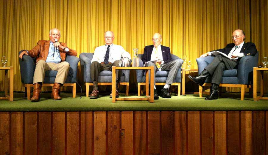 Former U.S. Fish and Wildlife Services Director John Turner, left, speaks Monday during a panel discussion in Cody that included, from left, former Environmental Protection Administration head William Ruckelshaus, former Sen. Alan Simpson and former Wyoming Gov. Mike Sullivan. (Ruffin Prevost/Yellowstone Gate - click to enlarge)