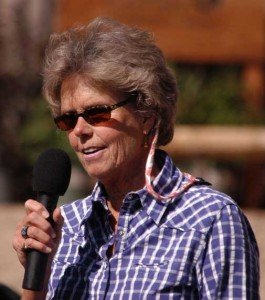Nature Conservancy supporter Anne Young speaks at the opening celebration for the the Trailhead Cabin at The Nature Conservancy Heart Mountain Ranch. (Yellowstone Gate/Ruffin Prevost - click to enlarge)