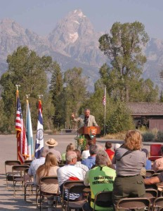 Transportation Secretary Ray LaHood speaks Friday at a celebration of the completion of the second phase of a multipurpose pathway connecting Grand Teton National Park with Jackson, Wyo. (Yellowstone Gate/Ruffin Prevost - click to enlarge)