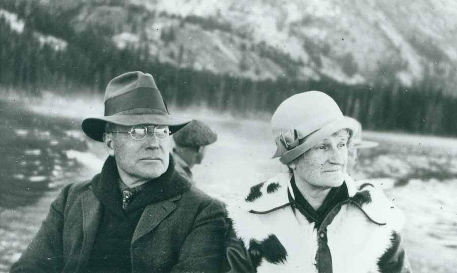 John D. Rockefeller, Jr. and wife Abbey boat on Jenny Lake in Grand Teton National Park in 1931. (Grand Teton National Park file photo -click to enlarge)