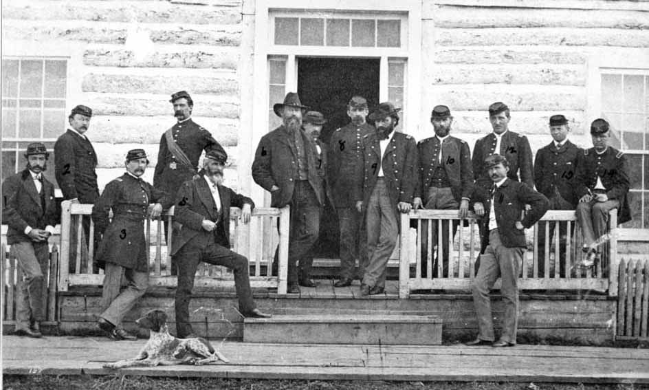 Gustavus Cheyeney Doane, fourth from left with sash, was a soldier who figures prominently in Empire of Shadows: The Epic Story of Yellowstone, by George Black. (Pioneer Museum - click to enlarge)
