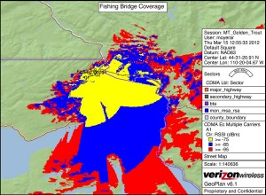 A map from Verizon Wireless shows signal coverage from a proposed cell phone tower planned for the area around Lake Hotel in Yellowstone National Park. (click to enlarge)