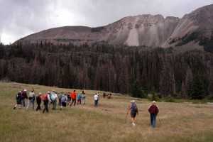 Hikers make their way to an ancient hilltop outpost in the Shoshone National Forest during a July field trip sponsored by the Greater Yellowstone Coalition. (Ruffin Prevost/Yellowstone Gate - click to enlarge)