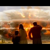 In a frame capture from the disaster movie 2012, visitors watch the Yellowstone caldera explode in a supervolcano eruption that marks the beginning of a planetary series of cataclysmic events. (©2009 Columbia Pictures - click to enlarge)