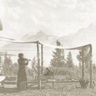 Edith Sargent playis the violin outside of Merymere Lodge at the site of the AMK Ranch in Grand Teton National Park.