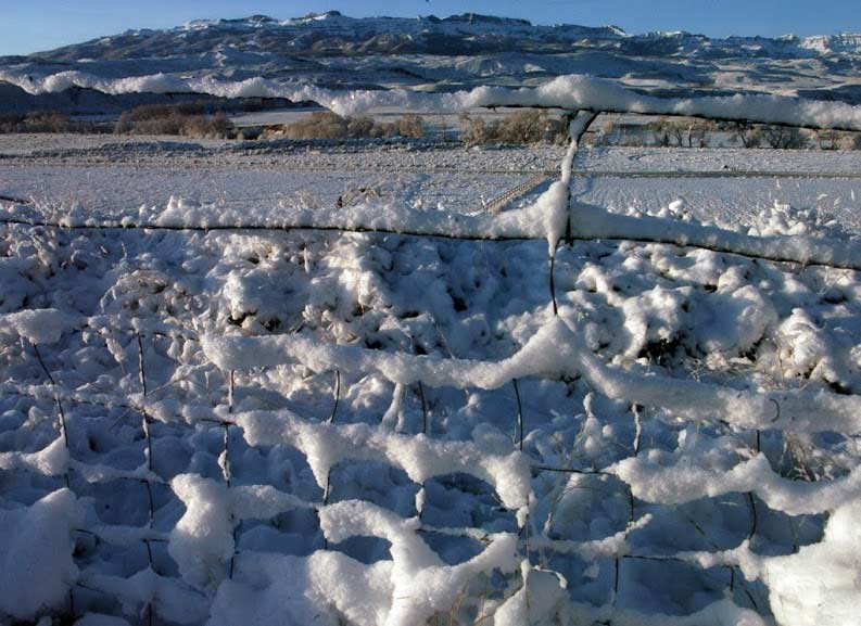 Snow collects on a fence near Sheep Mountain southeast of Yellowstone National Park. (Ruffin Prevost/Yellowstone Gate)