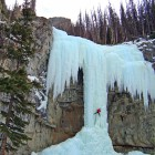 Aaron Mulkey climbs a frozen waterfall called Hells Angel on the Upper South Fork of the Shoshone River, about 45 miles southwest of Cody. (File photo by Joel Anderson - click to enlarge)