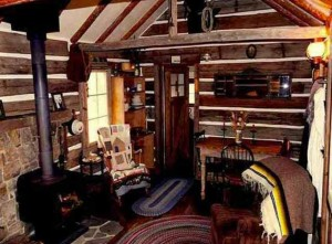 """The owner of a former Yellowstone soldier cabin has carefully rehabilitated the structure's interior before listing it for sale on a site that specialies in so-called """"tiny houses."""" (click to enlarge)"""