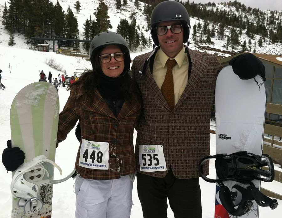 Angela and Rustin Nordsven of Spearfish, S.D. sport mismatched nerd outfits for the Grizzly Peak Adventure Race in Red Lodge, Mont. (Ruffin Prevost/Yellowstone Gate)