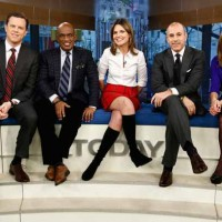 """Today"" show anchors Willie Geist, from left, Al Roker, Savannah Guthrie, Matt Lauer and Natalie Morales will broadcast Tuesday morning from Old Faithful in Yellowstone National Park. (NBC photo by Peter Krame)"
