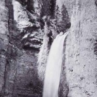 Tower Falls in Yellowstone National Park as photographed by William Henry Jackson in 1871.