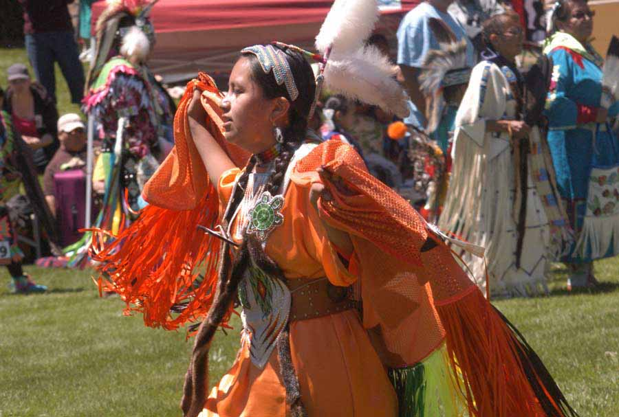 A dancer performs Saturday during the 32nd Plains Indian Pow Wow at the Buffalo Bill Center of the West in Cody, Wyo. (Ruffin Prevost/Yellowstone Gate)