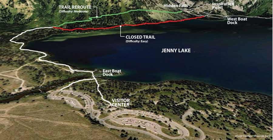 A popular Grand Teton National Park trail around Jenny Lake will be rerouted during maintenance work. (NPS graphic)