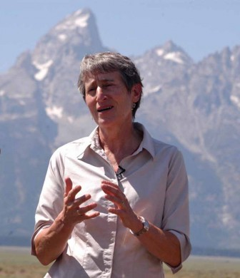 Interior Secretary Sally Jewell speaks Wednesday with reporters in Grand Teton National Park about her efforts to complete a deal for the federal government to acquire Wyoming state lands within the park. (Ruffin Prevost/Yellowstone Gate)