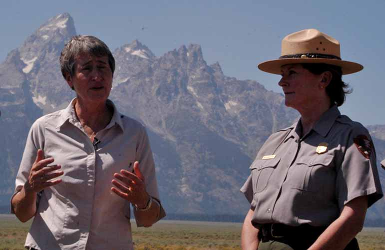 Interior Secretary Sally Jewell, left, and Grand Teton National Park Superintendent Mary Gibson Scott speak with reporters Wednesday about efforts to complete a deal for the federal government to acquire Wyoming state lands within the park, were the press conference was held. (Ruffin Prevost/Yellowstone Gate)