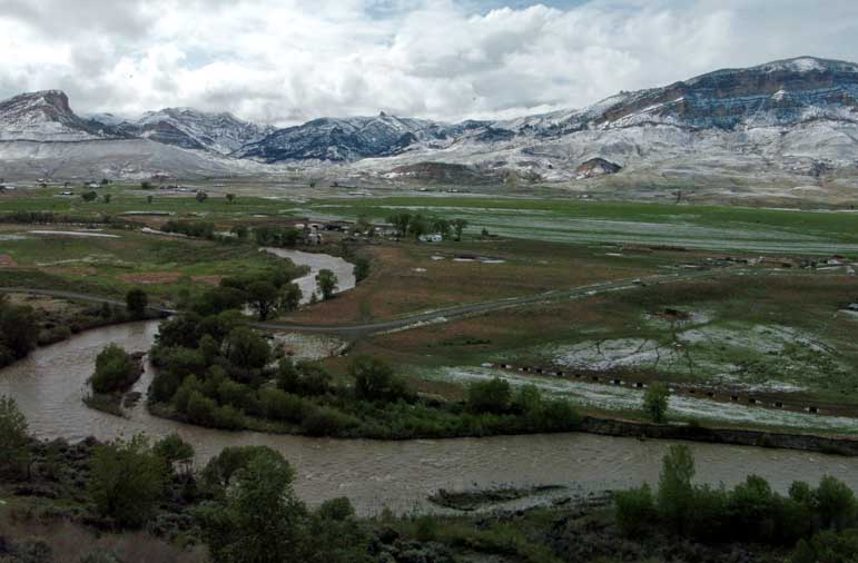 The South Fork of the Shoshone River is swollen with runoff after a June 2009 snowstorm that left accumulations of up to three inches around Cody, Wyo.