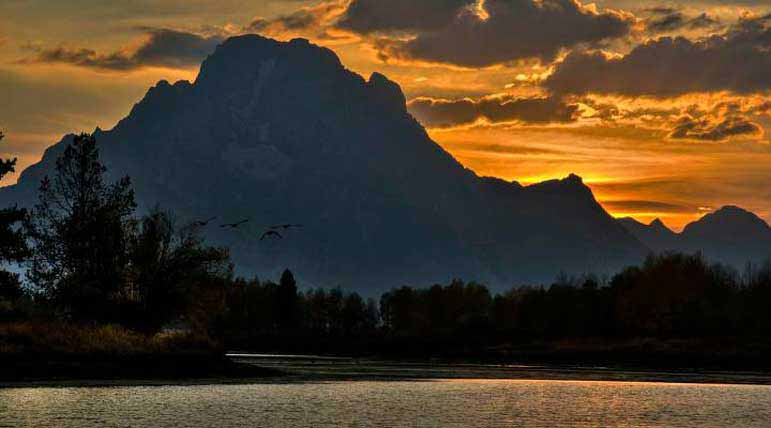 Geese take wing at sunset in Grand Teton National Park. Dylan Rorabaugh Natrona County High School