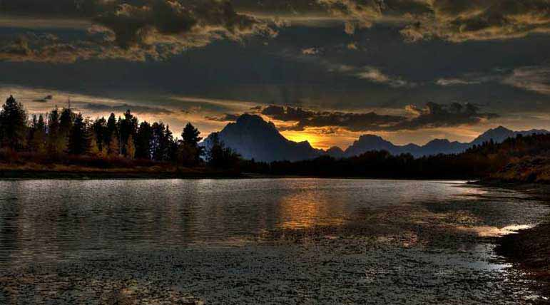 Sunset spreads a contrast of light and shadow across the landscaope in Grand Teton National Park. Dylan Rorabaugh, Natrona County High School 2nd Place, Wild Places