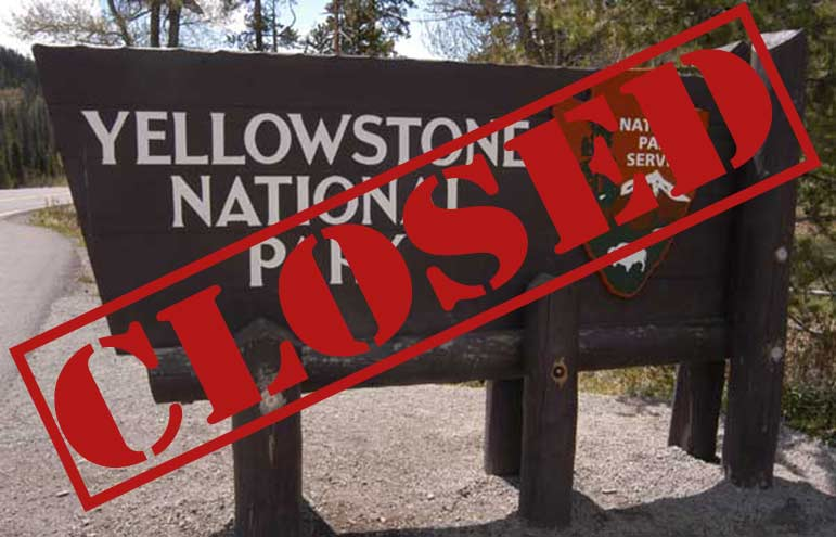 A federal government shutdown has closed Yellowstone and Grand Teton national parks to all visitors.