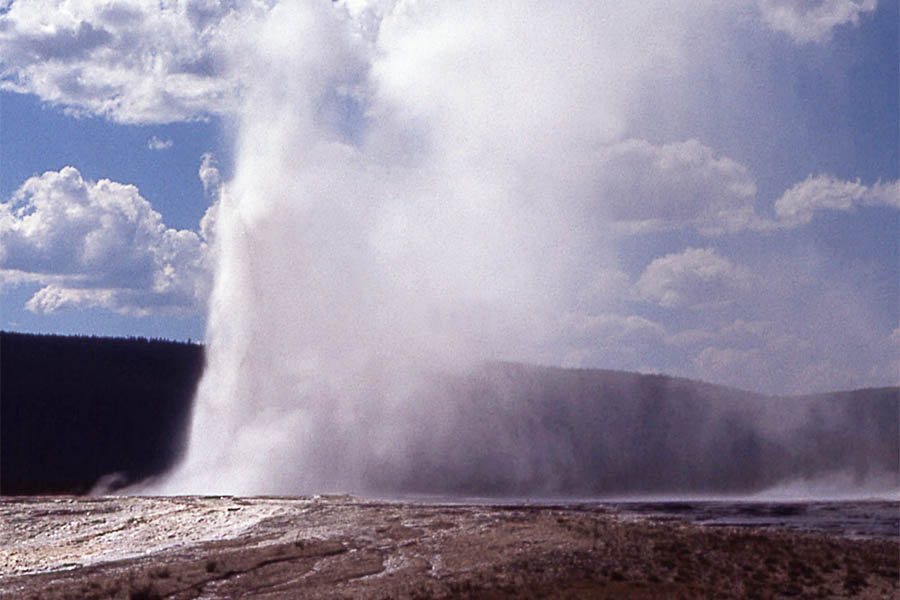 Giantess Geyser is seen erupting in a 1970 file photo from the National Park Service. It is one of the largest geysers in Yellowstone National Park, with eruptions often lasting more than a day and audible from a mile away.