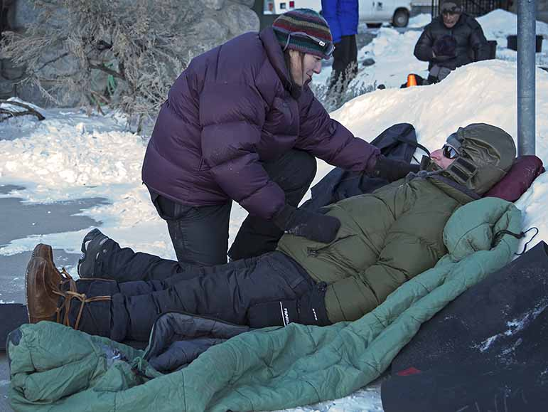 Cold temperatures and winter conditions add a sense of urgency to wilderness first aid scenarios during a course near Yellowstone National Park.