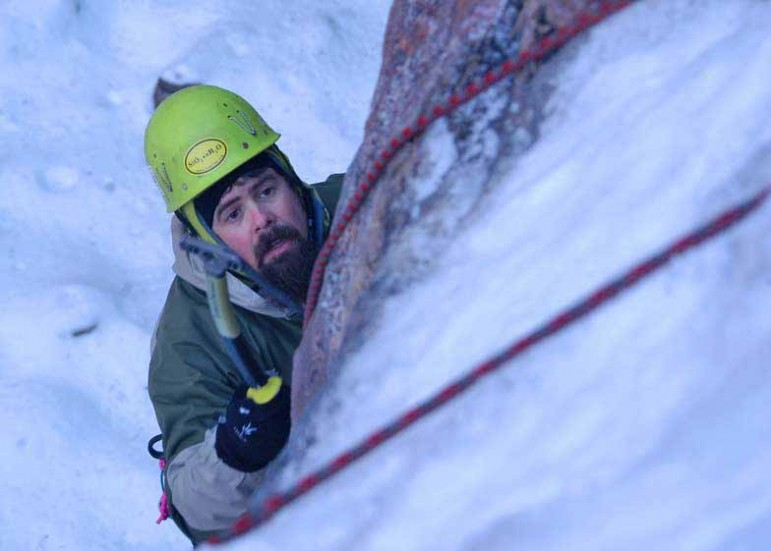 Greg Garrigues partcipates in a beginners clinic in Shoshone Canyon on Saturday during the 16th Annual Cody Ice Climbing Festival in Cody, Wyo. (Ruffin Prevost/Yellowstone Gate)
