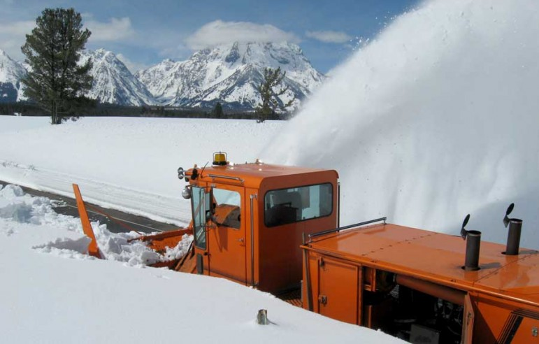 Crews are clearing snow from roads and highways in Grand Teton National Park.