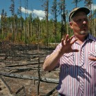 Roy Renkin, a vegetation specialist with the National Park Service, points out sections of a forest in Yellowstone National Park that were the subject of a prescribed burn in 2007 during a 2008 media tour looking back at the summer fires of 1988.
