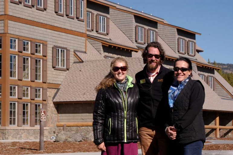 Xanterra Parks and Resorts sustainability specialists Rebecca Owens, from left, Catherine Greener and Dylan Hoffman complete a tour of a newly built lodge in the Canyon section of Yellowstone National Park.