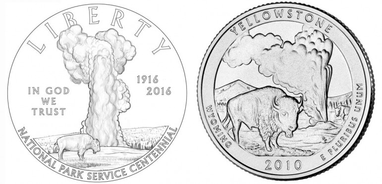 The design for a new coin commemorating the National Park Service centennial (left) is similar to a Yellowstone National Park quarter (right) issued in 2010.