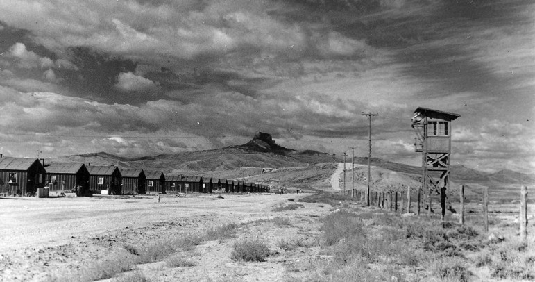 A historic photo from the Heart Mountain Interpretive Center shows a World War II relocation camp in Wyoming between Cody and Powell. Wyo. More than 14,000 Japanese-Americans were held at Heart Mountain, one of 10 such camps nationwide that housed more than 110,000 people.