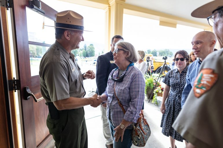 Yellowstone National Park Superintendent Cam Sholly greets visitors during a celebration Aug 30 marking the reopening of the Mammoth Hot Springs Hotel folowing a $30-million renovation. (NPS photo/Jacob W. Frank)