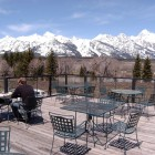 Jason Lesli, left, and Duane Nardi have lunch on the rooftop deck of Dornan's restaurant in May 2011 in Grand Teton National Park. (Ruffin Prevost/Yellowstone Gate)