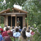 Visitors gather in June 2006 for the dedication of the Murie Ranch as a National Historic Landmark. (Charlie Craighead photo - click to enlarge)